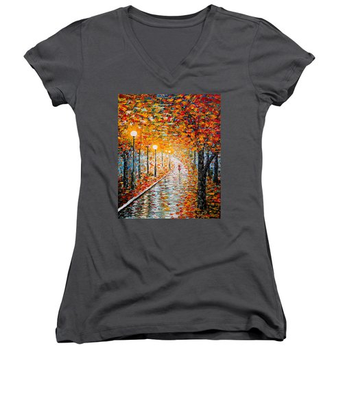 Women's V-Neck featuring the painting Rainy Autumn Day Palette Knife Original by Georgeta  Blanaru