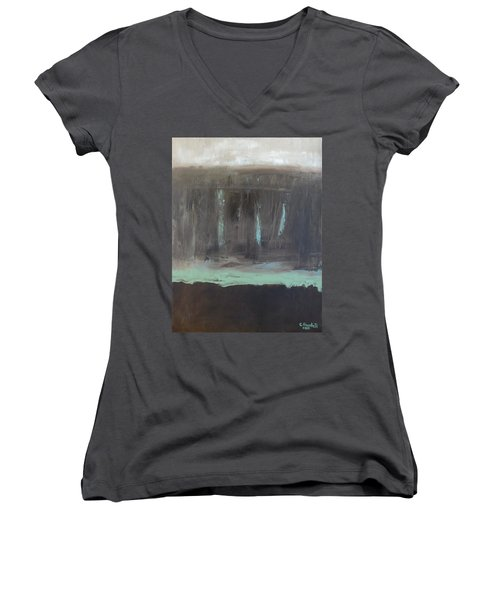 Rainy Day Women's V-Neck T-Shirt (Junior Cut) by Claudia Goodell