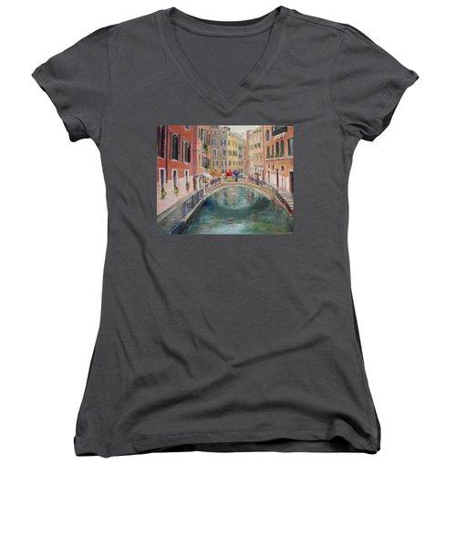 Rainy Day In Venice Women's V-Neck T-Shirt (Junior Cut) by Harriett Masterson