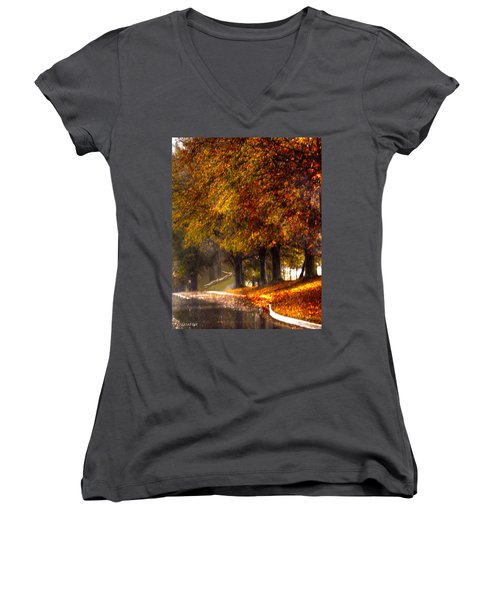 Women's V-Neck T-Shirt (Junior Cut) featuring the photograph Rainy Day Path by Lesa Fine