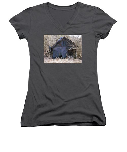 Women's V-Neck T-Shirt (Junior Cut) featuring the photograph Ramshackled by Nick Kirby