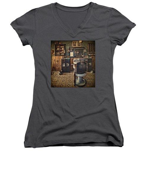Randsburg Barber Shop Interior Women's V-Neck T-Shirt (Junior Cut) by Priscilla Burgers
