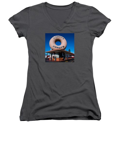 Randy's Donuts Women's V-Neck T-Shirt (Junior Cut) by Stephen Stookey