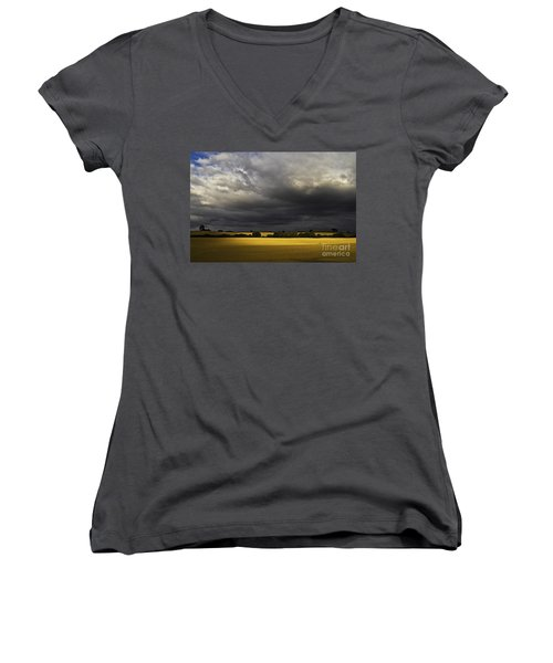 Women's V-Neck featuring the photograph Rapefield Under Dark Sky by Heiko Koehrer-Wagner