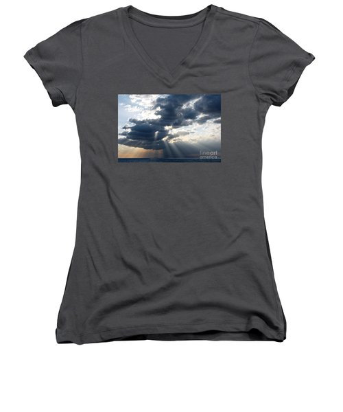 Women's V-Neck T-Shirt (Junior Cut) featuring the photograph Rays And Clouds by Antonio Scarpi