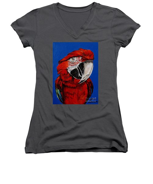 Razzy Red - Bird- Macaw Women's V-Neck (Athletic Fit)