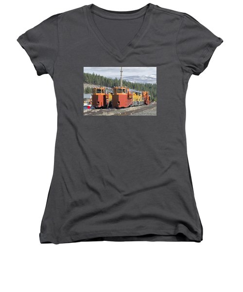 Ready For More Snow At Donner Pass Women's V-Neck T-Shirt (Junior Cut) by Jim Thompson
