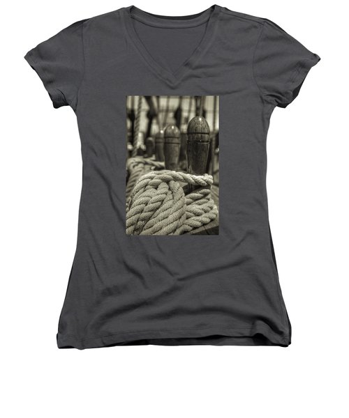 Ready For Work Black And White Sepia Women's V-Neck (Athletic Fit)