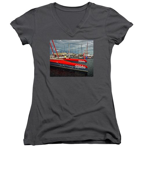Ready To Race Women's V-Neck T-Shirt (Junior Cut) by Elf Evans