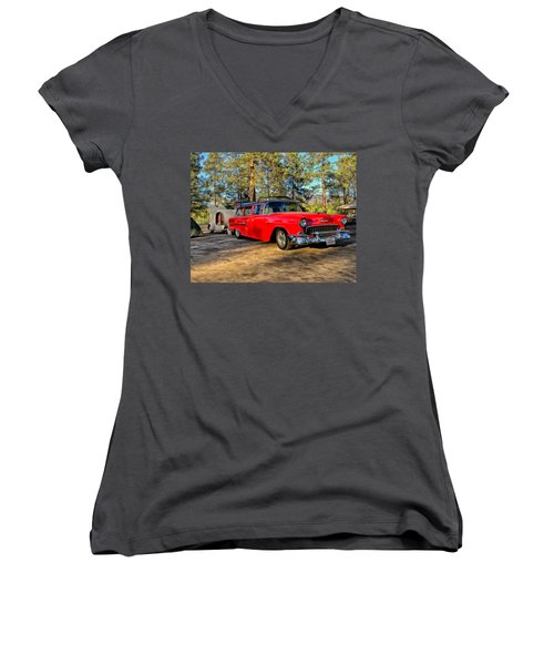 Women's V-Neck T-Shirt (Junior Cut) featuring the painting Red '55 Chevy Wagon by Michael Pickett