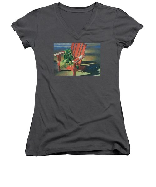 Red Adirondack Chair Women's V-Neck