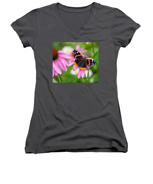 Red Admiral Butterfly Women's V-Neck T-Shirt (Junior Cut) by Patti Deters