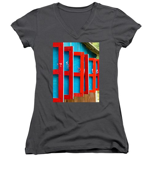 Red And Blue Wooden Shutters Women's V-Neck