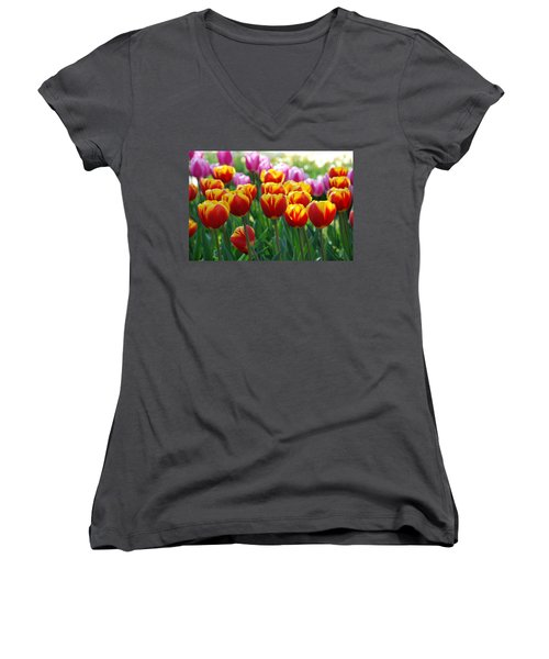 Women's V-Neck T-Shirt (Junior Cut) featuring the photograph Red And Yellow Tulips  by Allen Beatty