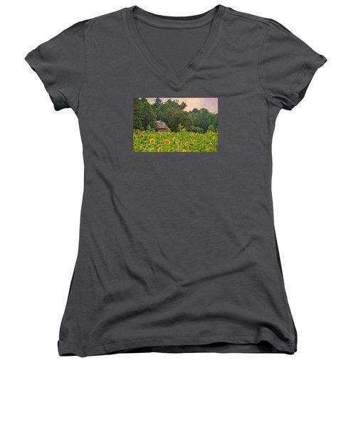 Red Barn Among The Sunflowers Women's V-Neck T-Shirt (Junior Cut) by Sandi OReilly
