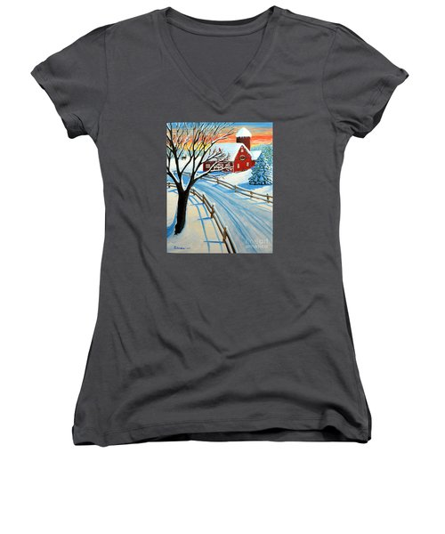 Red Barn In Winter Women's V-Neck T-Shirt (Junior Cut) by Patricia L Davidson