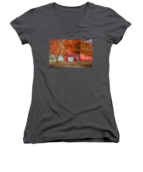 Women's V-Neck T-Shirt (Junior Cut) featuring the photograph Red Barn With White Barn Door by Jeff Folger