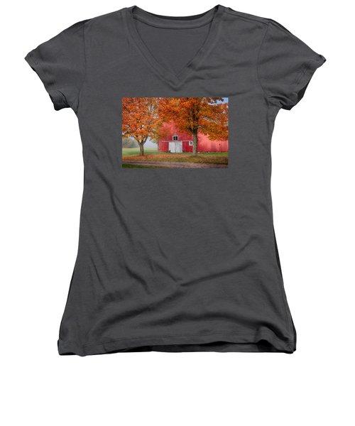Red Barn With White Barn Door Women's V-Neck T-Shirt (Junior Cut) by Jeff Folger