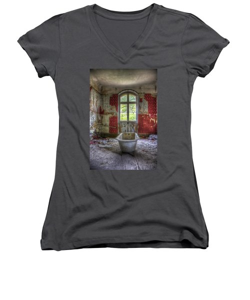 Red Bathroom Women's V-Neck T-Shirt (Junior Cut) by Nathan Wright