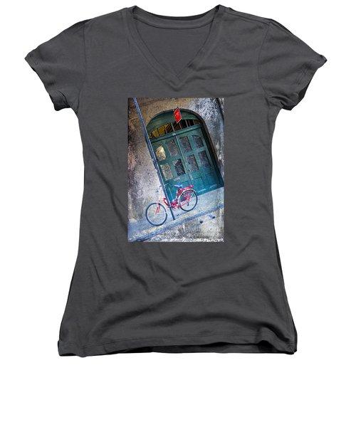 Women's V-Neck T-Shirt (Junior Cut) featuring the digital art Red Bike by Erika Weber