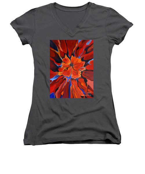 Women's V-Neck T-Shirt (Junior Cut) featuring the painting Red Bloom by Alison Caltrider