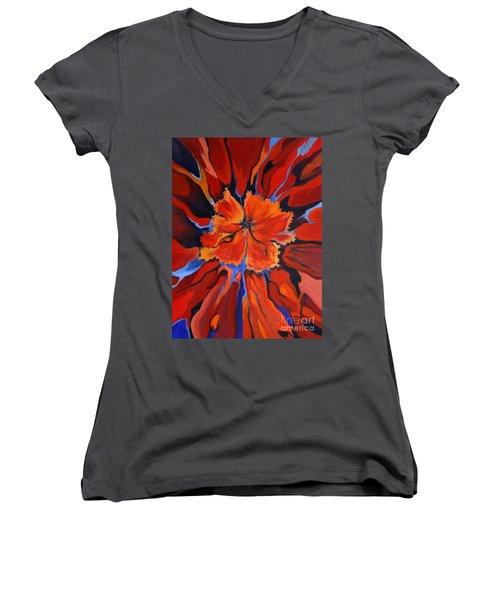 Red Bloom Women's V-Neck (Athletic Fit)