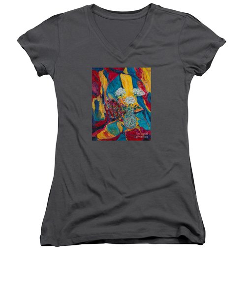 Red Blue Yellow Women's V-Neck T-Shirt