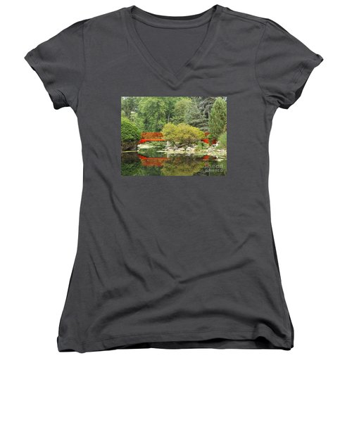 Red Bridge Reflection In A Pond Women's V-Neck (Athletic Fit)
