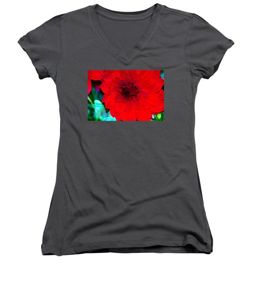 Women's V-Neck T-Shirt (Junior Cut) featuring the photograph Red Dahlia by Lehua Pekelo-Stearns
