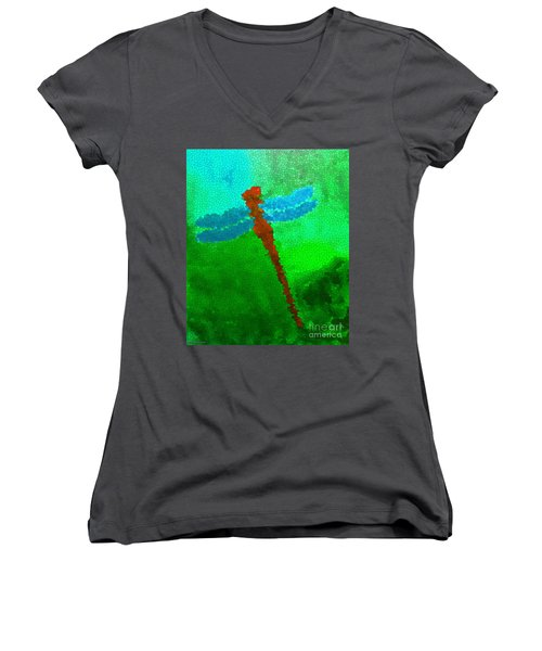 Women's V-Neck T-Shirt (Junior Cut) featuring the digital art Red Dragonfly by Anita Lewis