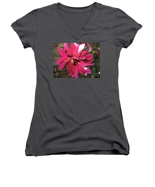 Red Flower In Bloom Women's V-Neck