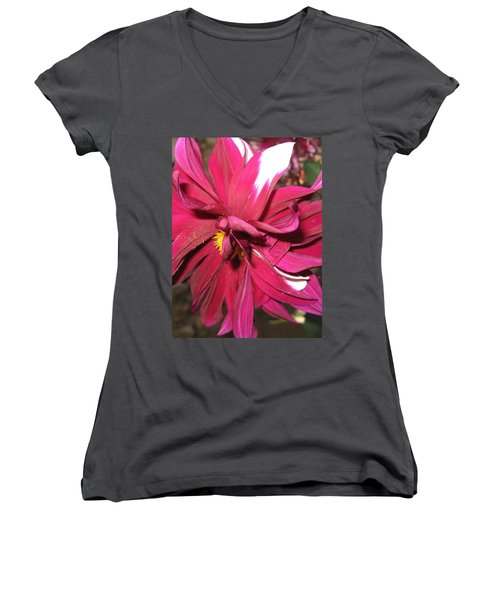 Red Flower In Bloom Women's V-Neck (Athletic Fit)