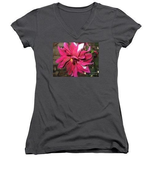 Red Flower In Bloom Women's V-Neck T-Shirt