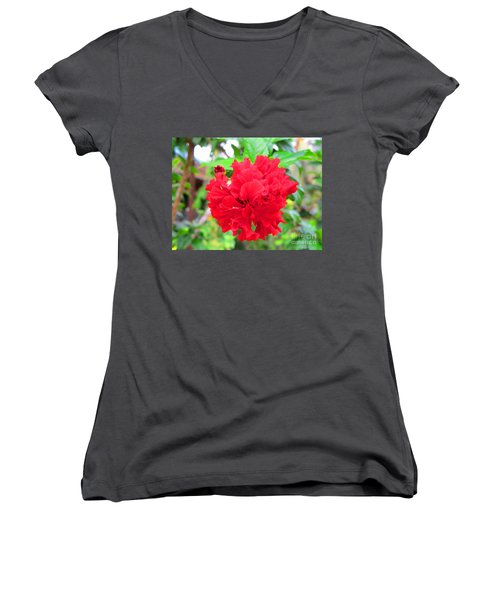 Women's V-Neck T-Shirt (Junior Cut) featuring the photograph Red Flower by Sergey Lukashin