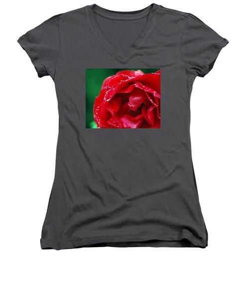 Women's V-Neck T-Shirt (Junior Cut) featuring the photograph Red Flower Wet by Matt Harang
