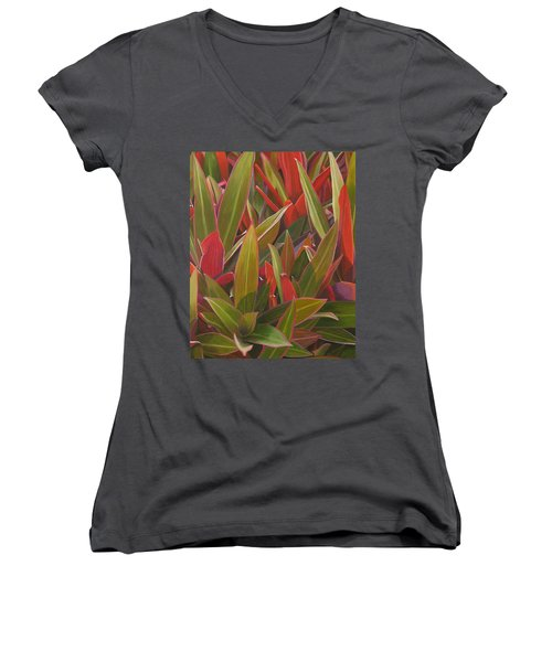 Red Green And Purple Women's V-Neck (Athletic Fit)
