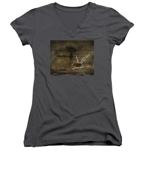 Red Head Duck Old Box Women's V-Neck T-Shirt (Junior Cut) by Randall Branham