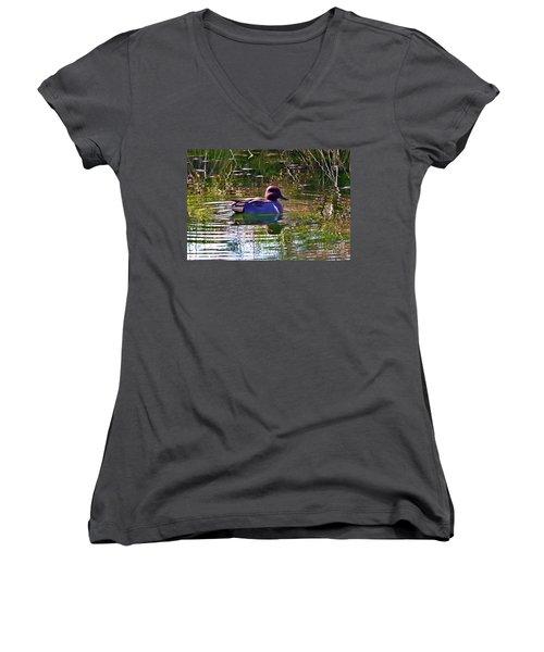 Red Headed Duck Women's V-Neck T-Shirt (Junior Cut) by Susan Garren