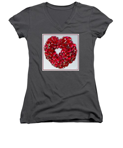 Red Heart Wreath Women's V-Neck (Athletic Fit)