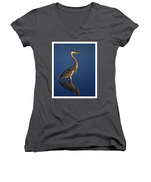 Red Heron Wading Women's V-Neck