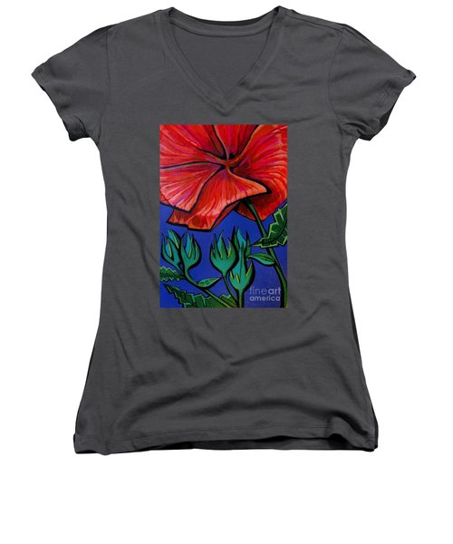 Red Ibiscus - Botanical Women's V-Neck (Athletic Fit)