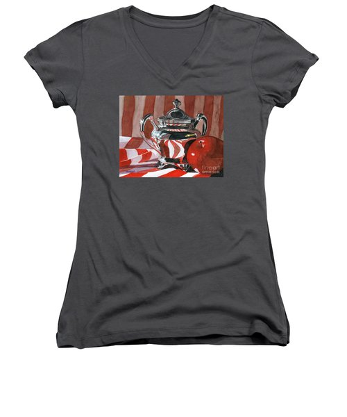 Red In Silver Women's V-Neck T-Shirt (Junior Cut) by Lynne Reichhart