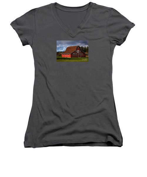 Women's V-Neck T-Shirt (Junior Cut) featuring the photograph Red Kirsop Barn by Jean OKeeffe Macro Abundance Art