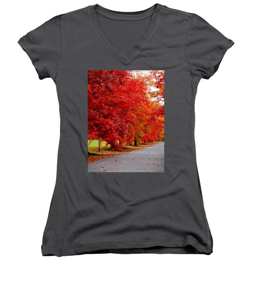 Red Leaf Road Women's V-Neck T-Shirt