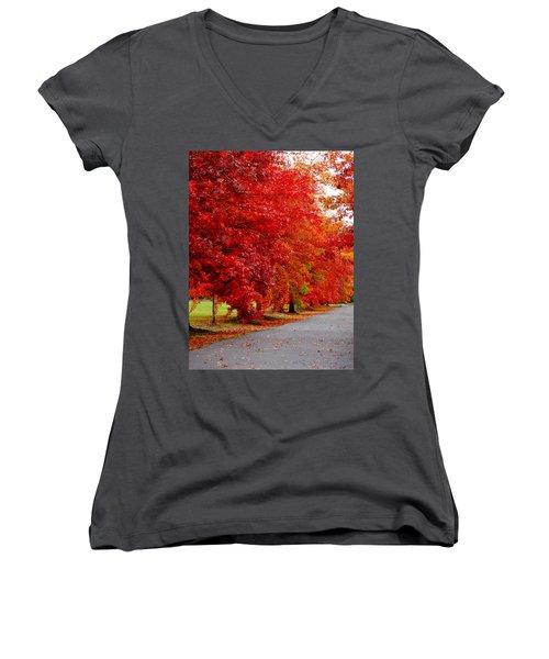 Red Leaf Road Women's V-Neck T-Shirt (Junior Cut)