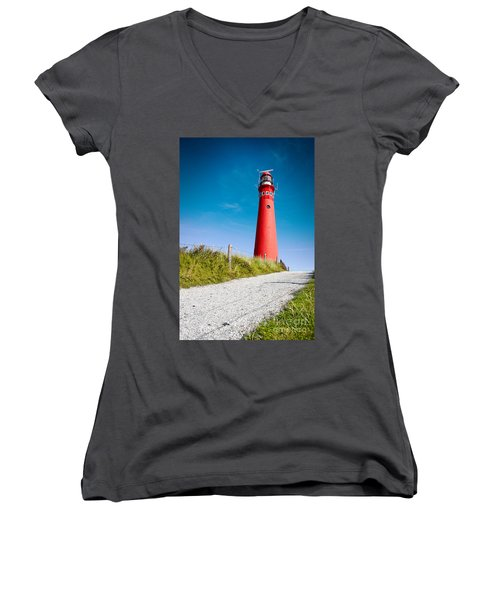 Red Lighthouse And Deep Blue Sky. Women's V-Neck (Athletic Fit)