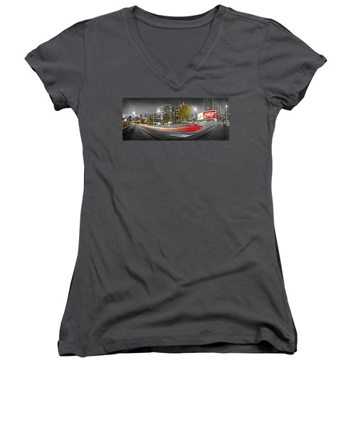 Red Lights Sydney Nights Women's V-Neck T-Shirt (Junior Cut) by Az Jackson