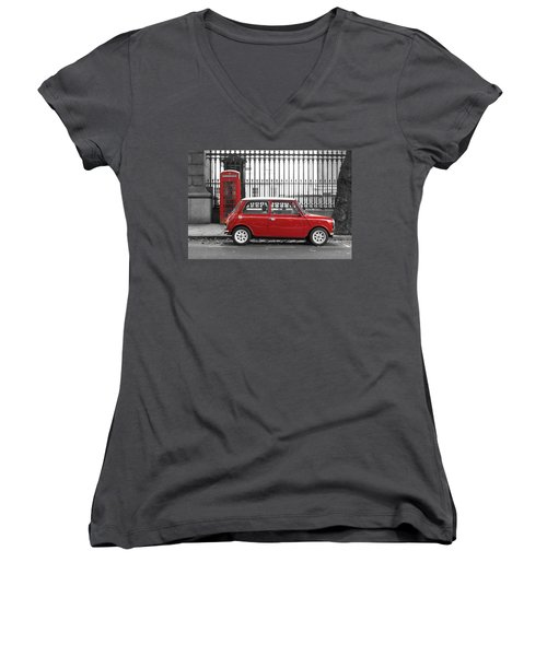 Red Mini Cooper In London Women's V-Neck (Athletic Fit)