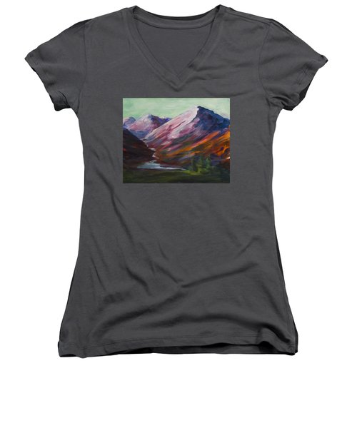 Red Mountain Surreal Mountain Lanscape Women's V-Neck T-Shirt