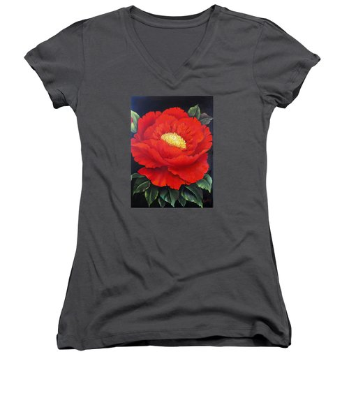 Red Peony Women's V-Neck (Athletic Fit)